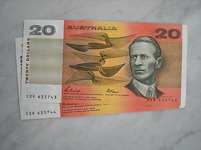 Australian 1989 $20 Phillips/ Fraser  Consec Pair  CHOICE UNC notes