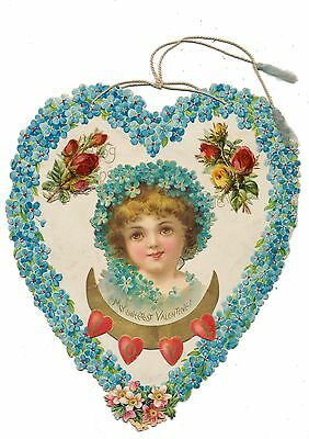 Ellen Clapsaddle Valentine Die Cut - Forget-Me-Not Girl, Maybe Signed