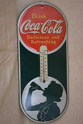 "Antique Coca-Cola Thermometer ""Drink Coca-Cola Delicious and Refreshing"" 1940"