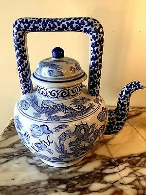 Chinese rare Blue and white porcelain Dragon, floral design Teapot