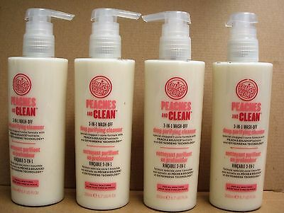 SOAP AND GLORY 4 x 200ml PEACHES & CLEAN DEEP PURIFYING CLEANSER 3 IN 1 WASH OFF