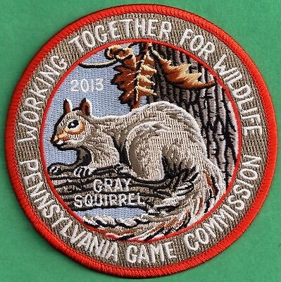 """Pa Penna Pennsylvania Game Commission NEW Cloth 4"""" WTFW 2013 Squirrel Patch"""