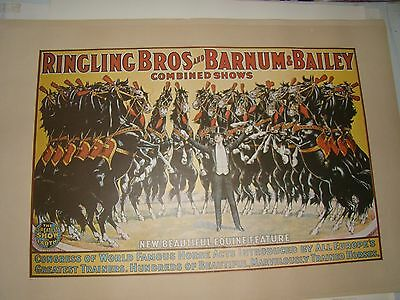 VTG 24x36 1970's Ringling Brothers Barnum Bailey Circus Poster - Black Horses