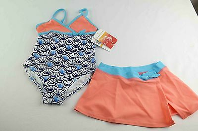 Tommy Bahama Girls One Piece Shell Swimsuit with Skirt size 3T blue & coral NEW