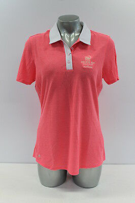 New With Tags Adidas Tour Traditional Womens Golf Polo Shirt In Fluro Pink/white