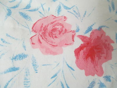 Vintage 1920's 30's Cotton Fabric Material pink roses blue leaves