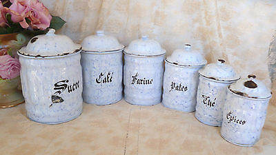 Set~6~Antique~Vintage~FRENCH~Country~White~&~Blue~Enamel~Kitchen~Canister~Set