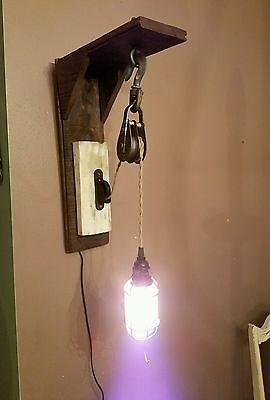 barnwood block and tackle pully wall light