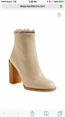 6a2e8c0cd7f See By Chloe Kiera Beige Boots Booties Leather with real fur Sz 37.5 7 NIB