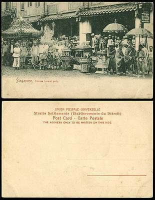 Singapore Old Postcard Chinese Funeral Party Street Procession, Monks Boys & Men