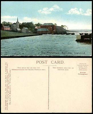 Ireland BALLINA The Fisheries County Co Mayo Old Colour Postcard Fishing Village