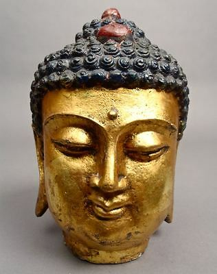 Large 8.3 inch 7.12 Lbs Beautiful Iron BUDDHA HEAD Statue Buddhism Golden Color