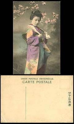 Japan Old Hand Tinted Postcard Geisha Girl Lady Woman with Towel Cherry Blossoms