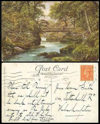 A.R. Quinton 1949 Old Postcard Llandrindod Wells The Alpine Bridge & River 2392