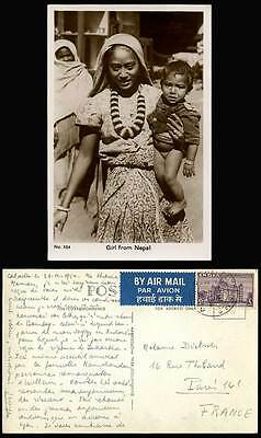 NEPAL India 6as 1954 Old Postcard Nepalese Nepali Woman Lady Girl Carrying Baby