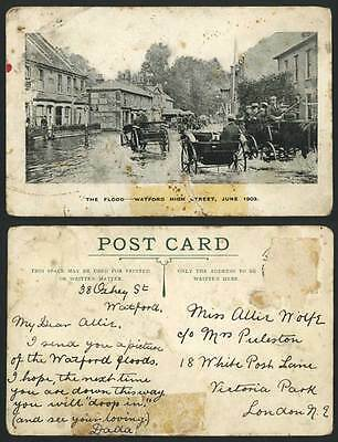 WATFORD HIGH STREET - THE FLOOD 1903 Old Postcard Flooded Street Scene Flooding