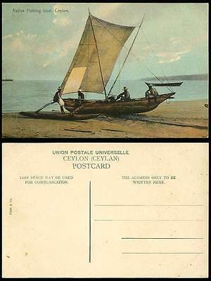 Ceylon Old Postcard Colour NATIVE FISHING BOAT, Fishermen, Beach, Fishery Canoes