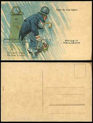 Hold To The Light Man with Flowers Lady Waving at Window Novelty Old UB Postcard