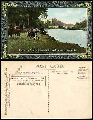 Ireland Co. Waterford Old Postcard LISMORE CASTLE from River, Bridge, Cow Cattle