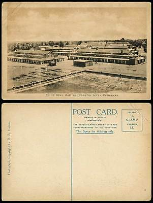 Pakistan Old Postcard Right Wing British Infantry Lines Peshawar, Military India