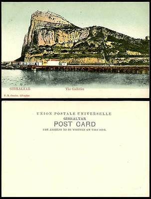 Gibraltar THE GALLERIES Colour Hand Tinted Undivided Back Old Postcard ROCK Boat