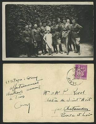 Group of Soldiers & a Sweet Little Girl Military 67 Smoking 1934 Old RP Postcard