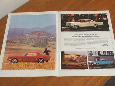 1965 Ford Mustang, Galaxie, Fairlane original US large two page advertisement