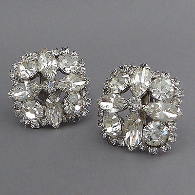Sparkly Chunky Square Vintage Crystal Rhinestone Earrings Clip Silver Plated