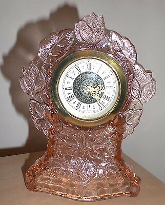 Walther Waltraut Art Deco Pink Glass Dressing Table Clock, Working! Germany