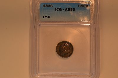 1836 Capped Bust Half Dime- ICG AU-50.  LM-6 variety.  Lovely and original.
