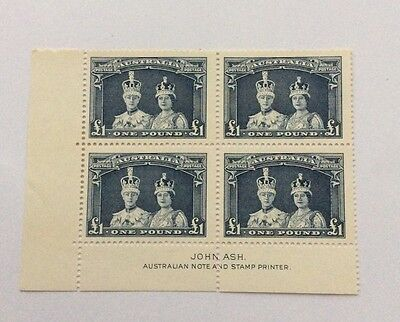 1937 Robes £1 MUH thick paper imprint block of 4, scarce.