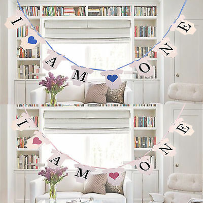 I Am One 1st Birthday Party Bunting Banner Boy Girl Baby Clothes Decor Garland