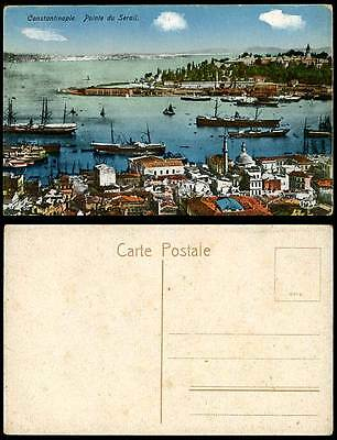 Turkey Old Postcard Constantinople, Pointe du Serail, Steamers Steam Ships Boats