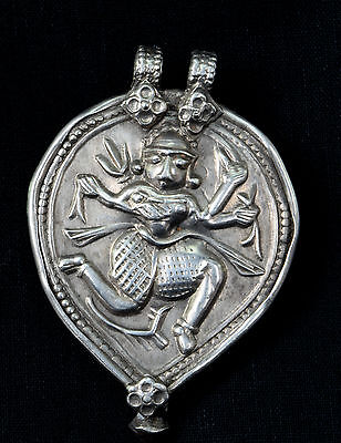 Indian Vintage Ethnic Silver Amulet Pendant Tribal Jewellery. G10-4
