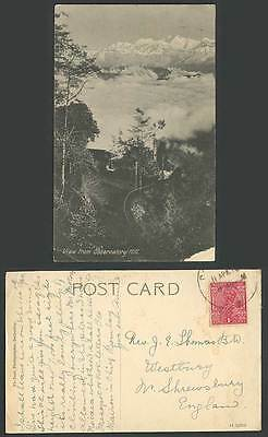India Old Postcard View from Observatory Hill Snowy Mountain Kangchenjunga Tibet