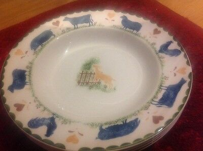 A set of 4 wood & sons Jacks farm bowls dishes, woods, goat pigs cattle.