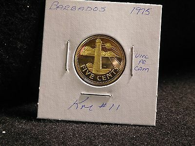 Barbados: 1975   5 Cents  Coin  Proof   (Unc.)    (#3853)  Km # 11