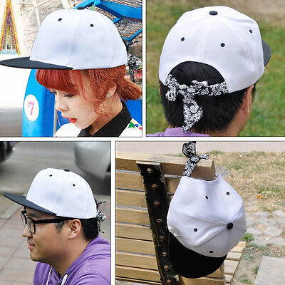 White Canvas bboy Hip Hop Bandanna Headband Baseball Cap Hat