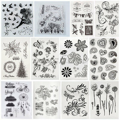 Flower Silicone Rubber Clear Stamp Seal Scrapbooking Diary Christmas Cards DIY