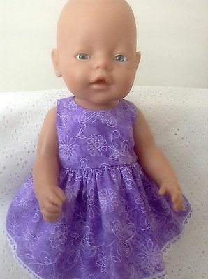 "Dolls clothes Handmade for Baby Born /CPK 16-17"" doll ~ Purple flower Dress"