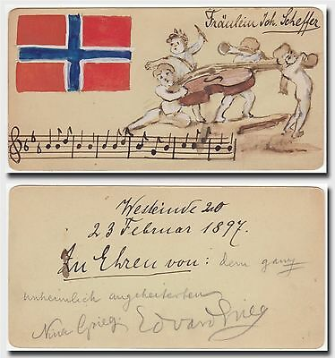 Edvard Grieg – autographed note signed by a drunken Grieg