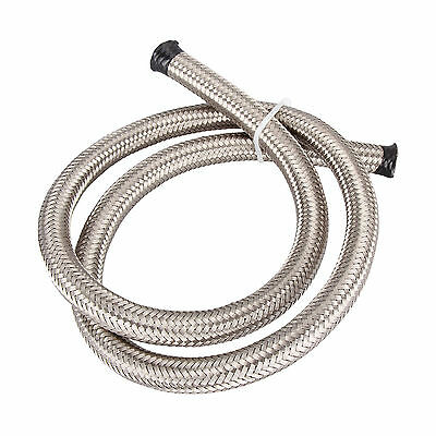 AN8 AN 8 11mm SILVER STAINLESS STEEL BRAIDED OIL FUEL LINE HOSE 1500PSI 1 METER