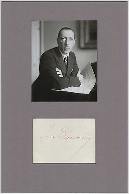 Igor Stravinsky – signature matted with photograph