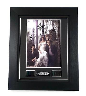 THE VAMPIRE DIARIES FILM CELL + Signed Preprint FRAMED Vampire Diaries GIFTS