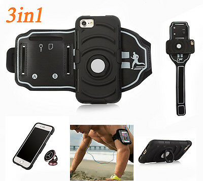 3in1 Armband Case For iphone 7/7Plus, Magnetic Car Mount+ Ring Kickstand+Armband