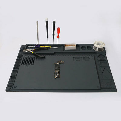 """16x11"""" 2in1 Silicone Mat Table Pad Maintenance Soldering Anti Heat Work Station"""