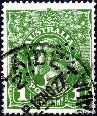 1d GREEN KGV HEAD WITH INVERTED WMK & PERFIN OS - FU