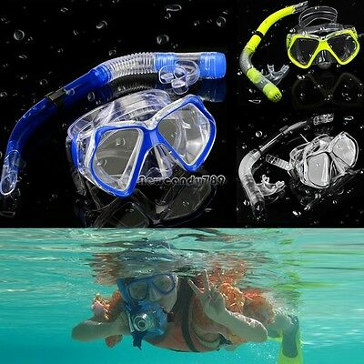 3 Color Diving Equipment Dive Mask Dry Snorkel Set Scuba Snorkeling Gear NC89