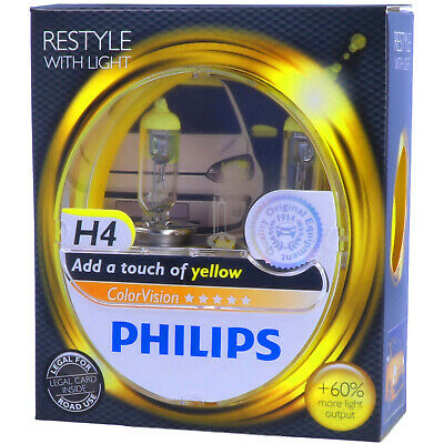 H4 PHILIPS ColorVision GELB - Styling - Scheinwerfer Lampe DUO-Pack NEU