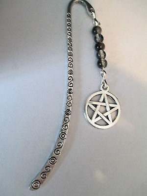 Wiccan Pagan Witch A Silver Toned Bookmark Pentagram Snowflake Obsidian Beads.